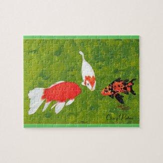 Three Koi Fish Swimming, Picture Puzzle