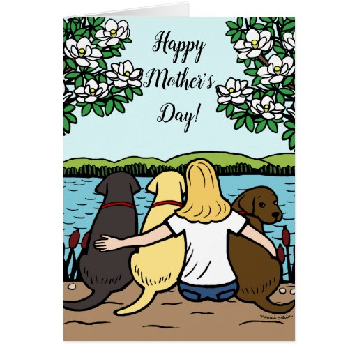 Three Labradors and Mom Mother's Day Blonde Card