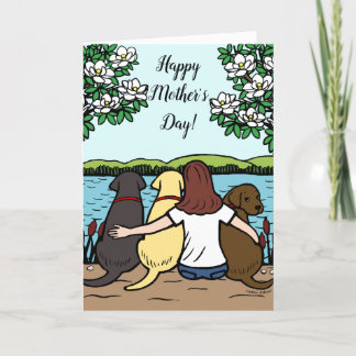Three Labradors and Mom Mother's Day Card