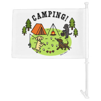 Three Labradors Camping Flag
