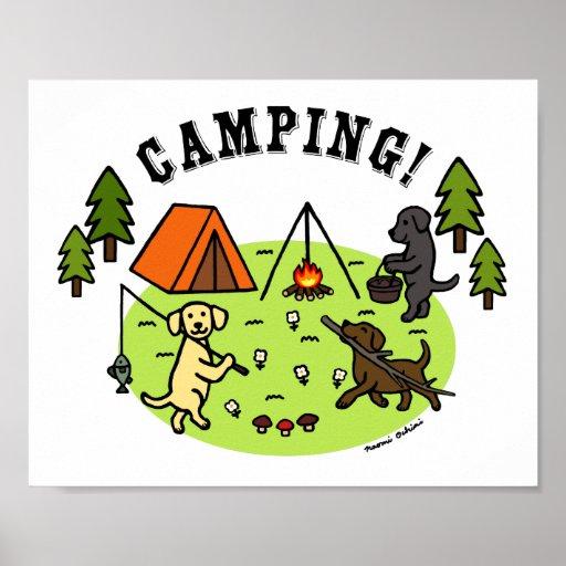 Three Labradors Camping Poster