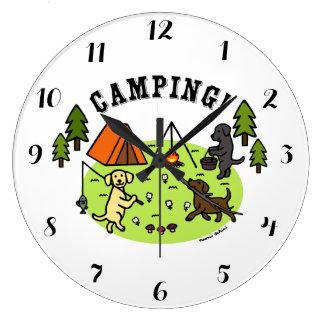 Three Labradors Camping Wall Clock