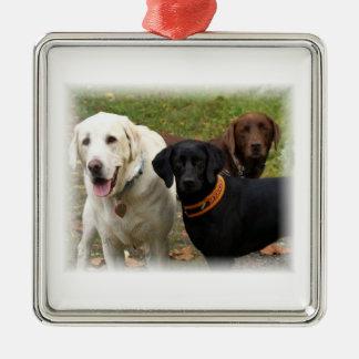 Three labradors metal ornament