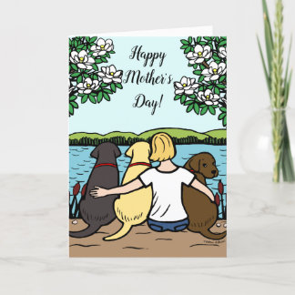 Three Labradors Mother's Day Blonde Short Card