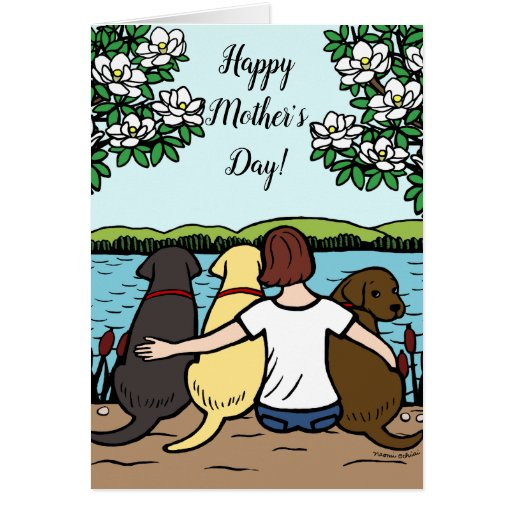 Three Labradors Mother's Day Brown Short Card