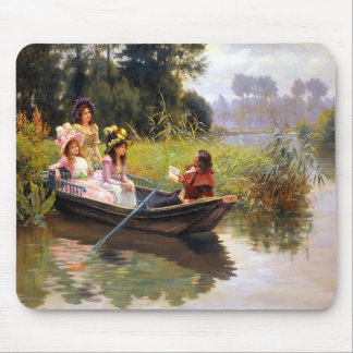Three ladies and a man in a boat mouse pad