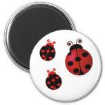 Three Ladybugs 2 Inch Round Magnet