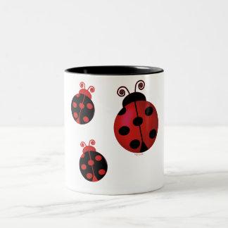 Three Ladybugs Two-Tone Coffee Mug