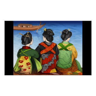 Three lamina Geishas Poster