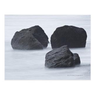 Three large boulders on Ruby Beach, Olympic Postcard
