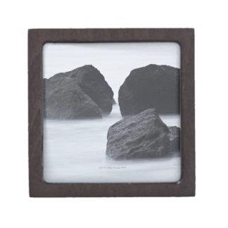 Three large boulders on Ruby Beach, Olympic Premium Keepsake Box