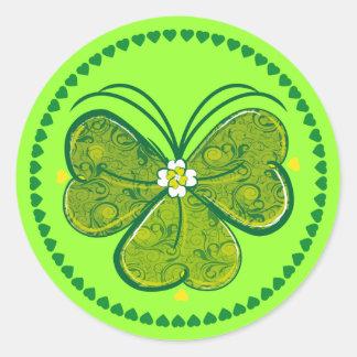 Three Leaf Clover - green round sticker