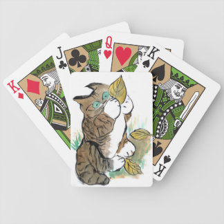 Three Leaves and a Tiger Kitten Bicycle Playing Cards