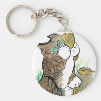 Three Leaves and a Tiger Kitten Keychain