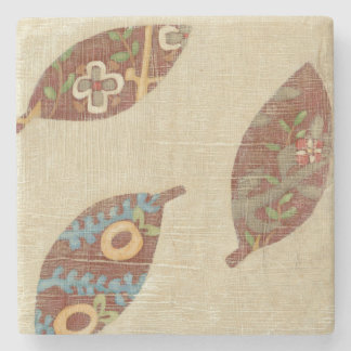 Three Leaves on Linen Texture Background Stone Beverage Coaster