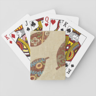 Three Leaves on Linen Texture Background Playing Cards