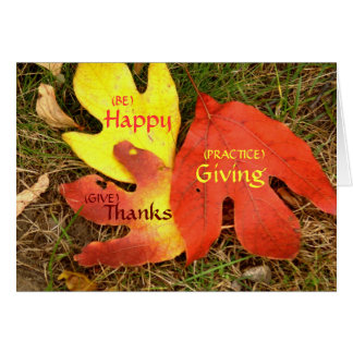 THREE LEAVES WITH THANKSGIVING SENTIMENT CARD