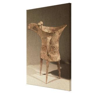 Three-legged 'chueh' vessel for heating wine canvas print