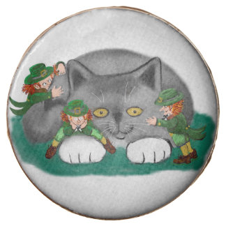 Three Leprechauns and a Kitten are Friends Chocolate Covered Oreo