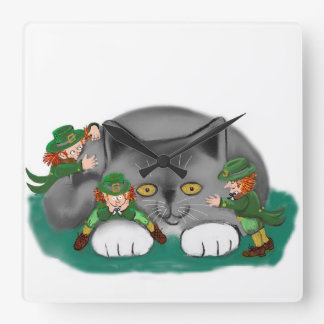 Three Leprechauns and a Kitten are Friends Square Wallclock