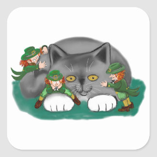 Three Leprechauns and a Kitten are Friends Square Sticker