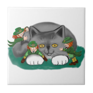 Three Leprechauns and a Kitten are Friends Tile