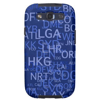 Three-Letter Airport Codes Blue Samsung Galaxy SIII Cases