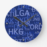 Three-Letter Airport Codes Round Wall Clocks