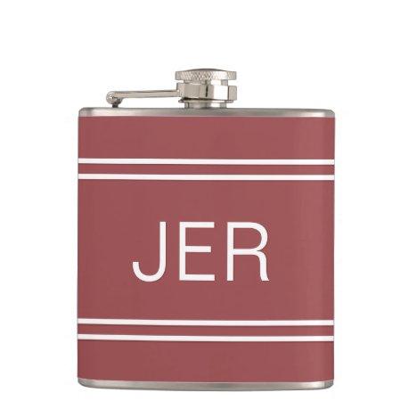 Three Letter Initials Monogrammed Dark Trendy Red Flask