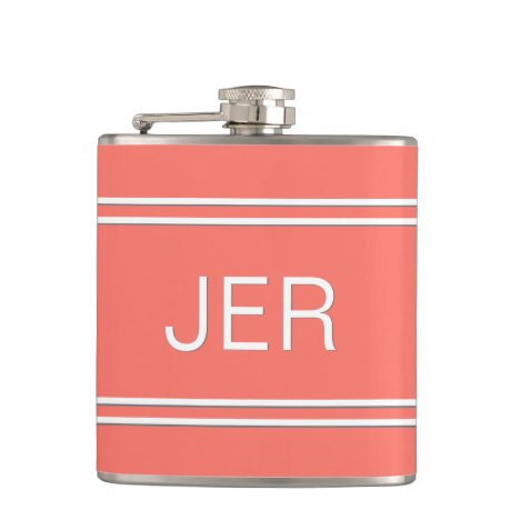 Three Letter Initials Monogrammed Drink Coral Flask