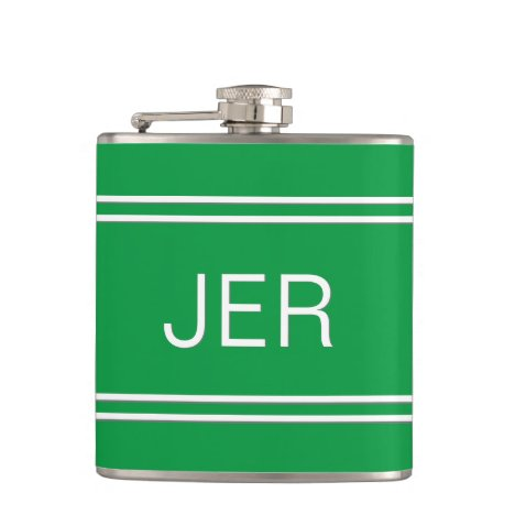 Three Letter Initials Monogrammed Drink Green Flask