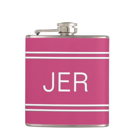 Three Letter Initials Monogrammed Drink Hot Pink Flask