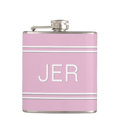 Three Letter Initials Monogrammed Drink Pink Flask