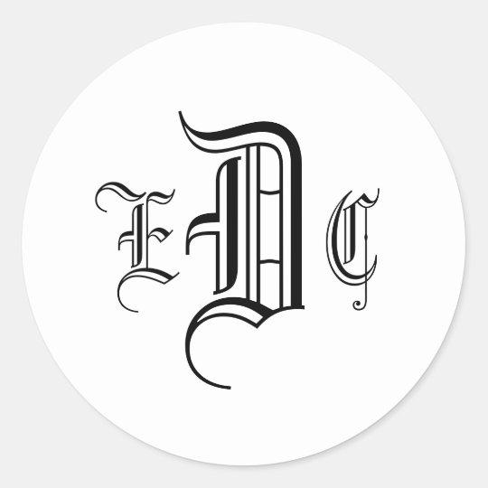 Three Letter Monogram Black & White Envelope Seal