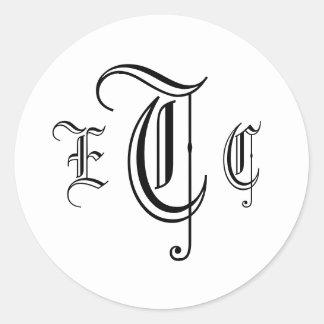 Three Letter Monogram Black & White Envelope Seal Classic Round Sticker