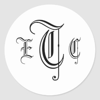 Three Letter Monogram Black & White Envelope Seal Round Sticker