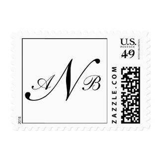 Three Letter Monogram Custom Postage Black Color