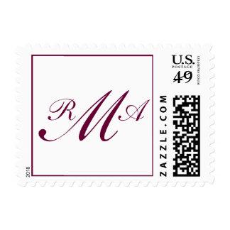 Three Letter Monogram Custom Postage Wine Color