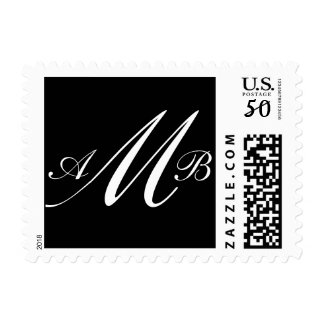 Three Letter Monogram M White on Black Postage
