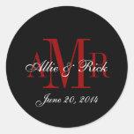Three Letter Monogram Names Wedding Favour Labels Classic Round Sticker