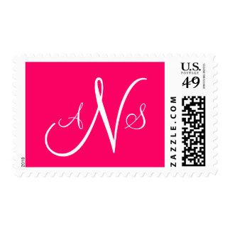 Three Letter Monogram Postage Stamps Pink