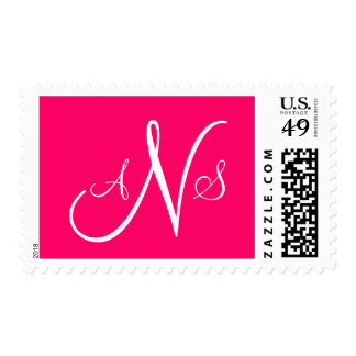 Three Letter Monogram Postage Stamps Pink