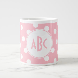 Three Letter Monogrammed Pink and White Polka Dots Giant Coffee Mug