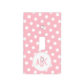 Three Letter Pink and White Polka Dot Monogram Light Switch Cover