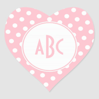Three Letter Pink and White Polka Dots Monogram Heart Stickers