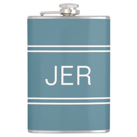 Three Letters Initials Monogrammed Drink Turquoise Flask