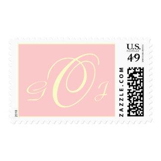 Three Letters Monogram Cream on Pink Postage