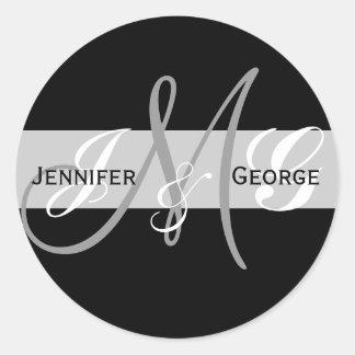 Three Letters Monogram Initials Wedding Sticker