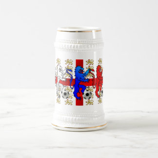 Three Lions football players and fans beer mug