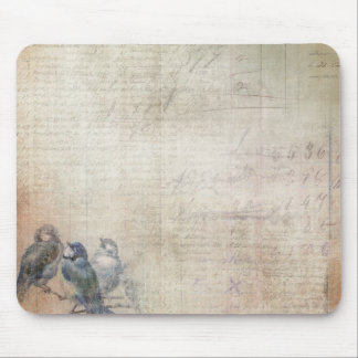 Three Litte Blue Birds Background Mouse Pad